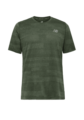 NEW BALANCE - Q Speed Fuel Jacquard-Knit T-Shirt - Men - Green