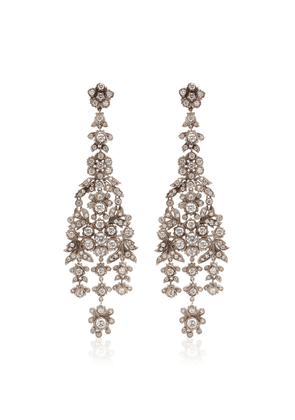 Briony Raymond One of a Kind 18K White Gold & Floral Motif H& Set Diamonds Long Drop Earrings