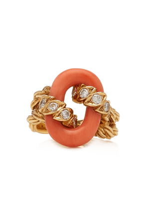 Briony Raymond 18K Yellow Gold Van Cleef & Arpels Coral & Diamond Ring