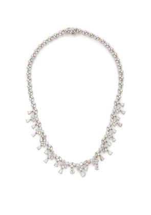 Briony Raymond 18K White Gold & Pear-Shaped Marquis & Round Brilliant Diamond Necklace