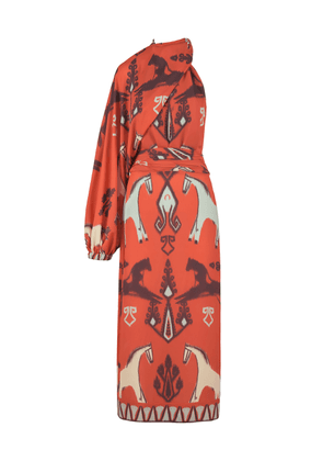 Johanna Ortiz Ikat Orange Susurros Astrales Dress