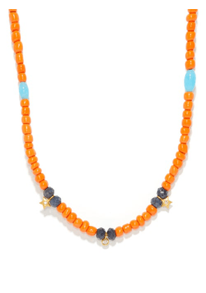 Musa By Bobbie - Diamond, Sapphire & 14kt Gold Charm Necklace - Womens - Orange