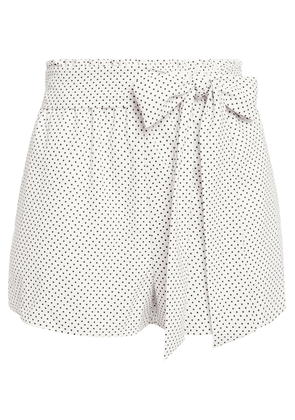 Alice + Olivia Belted Polka-dot Crepe Shorts Woman White Size S