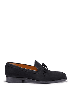 Hugs & Co Black Suede Laced Loafers Welted Leather Sole