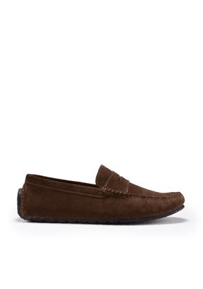 Hugs & Co Tyre Sole Penny Driving Loafers Brown Suede