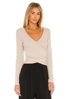 Bobi Modal Wide Rib Top in Taupe. Size M, S, XS.