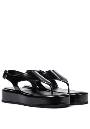 Leather platform thong sandals