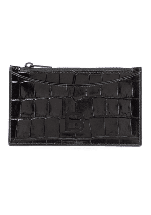 Hourglass croc-effect leather card holder