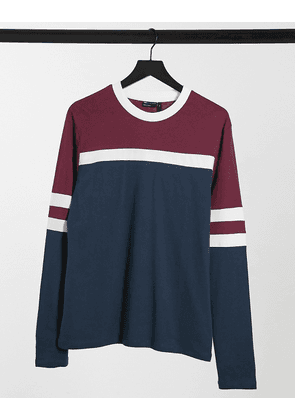 ASOS DESIGN long sleeve t-shirt with contrast panels in blue