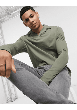 ASOS DESIGN long sleeve polo with revere collar in washed khaki-Green