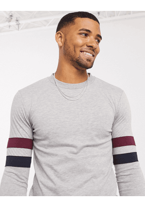 ASOS DESIGN muscle longline long sleeve t-shirt with contrast sleeve stripe in grey marl