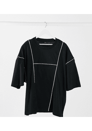 ASOS DESIGN Plus oversized t-shirt with piping panels and marble flock back print-Black