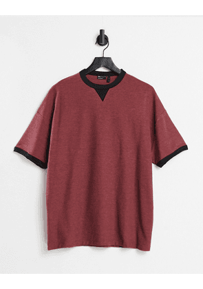 ASOS DESIGN oversized waffle t-shirt in with contrast ringer in burgundy-Red