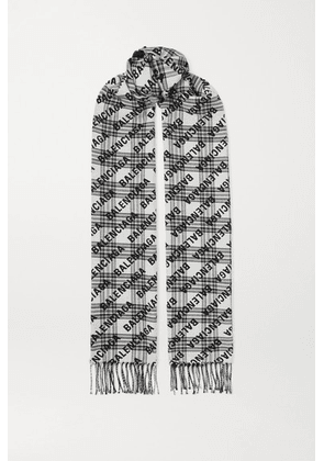 Balenciaga - Fringed Checked Wool-jacquard Scarf - Black
