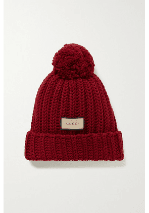Gucci - Pompom-embellished Ribbed Wool Beanie - Claret