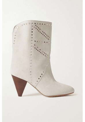 Isabel Marant - Deezia Studded Suede Ankle Boots - Off-white
