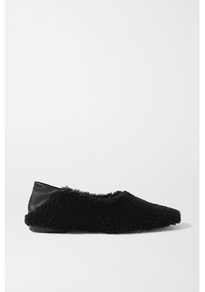 Porte & Paire - Shearling And Leather Collapsible-heel Loafers - Black