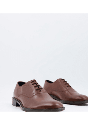 Dune wide fit formal lace up oxford brogues in tan leather