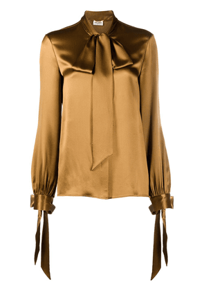 Saint Laurent long-sleeve pussy-bow blouse - Brown