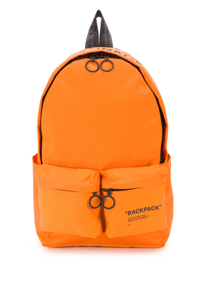 Off-White printed quote backpack - Orange
