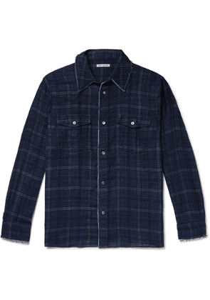 OUR LEGACY - New Frontier Distressed Checked Cotton Shirt - Men - Blue