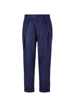 Blue Blue Japan - Indigo-Dyed Tapered Pleated Linen Trousers - Men - Blue