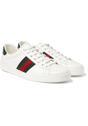 GUCCI - Ace Crocodile-Trimmed Leather Sneakers - Men - White