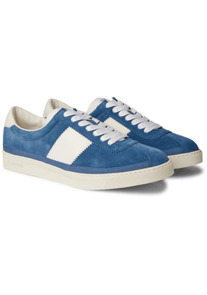 TOM FORD - Bannister Leather-Trimmed Suede Sneakers - Men - Blue