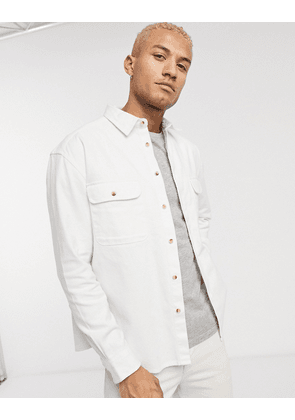 ASOS DESIGN oversized ecru denim shirt with double pockets in off white