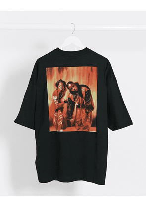 ASOS DESIGN Outkast heavyweight oversized t-shirt with large photographic print and front print-Black