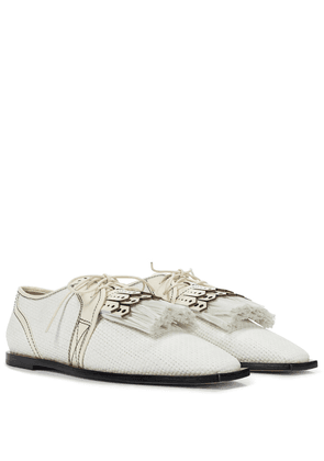 Raffia and leather Derby shoes