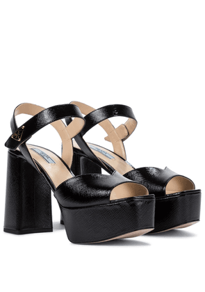 Saffiano leather platform sandals