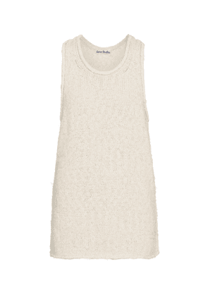 Cotton and linen-blend knit tank top