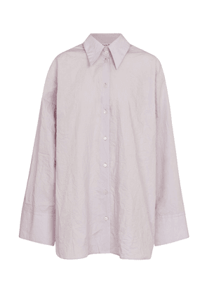 Crinkled oversized cotton shirt