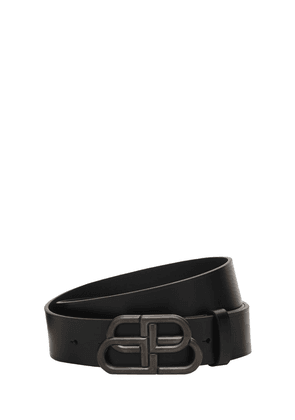 4.5cm Large Leather Belt W/logo Buckle