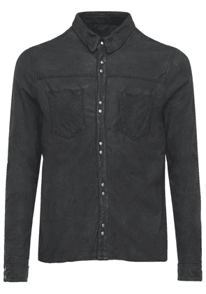 Brushed Leather Button Shirt