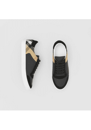 Burberry Leather, Suede and House Check Sneakers, Black