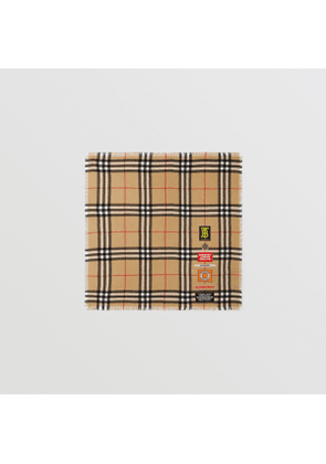 Burberry Logo Graphic Check Cashmere Large Square Scarf, Beige