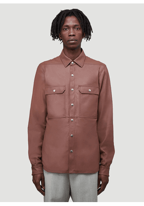 Rick Owens Leather Shirt in Red