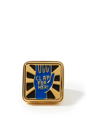 Chloé - Clap For Her! Lacquered Signet Ring - Womens - Blue Gold