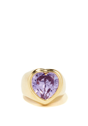 Timeless Pearly - Crystal & 24kt Gold-plated Ring - Womens - Purple Gold