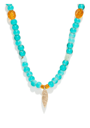 Musa By Bobbie - Diamond, Turquoise & 14kt Gold Beaded Necklace - Womens - Turquoise
