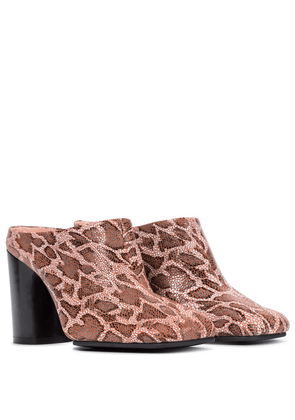 Python-effect leather mules