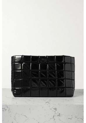 A.W.A.K.E. MODE - Large Quilted Faux Glossed-leather Clutch - Black