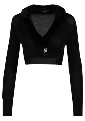 Viscose Wrap Cardigan W/fur Collar