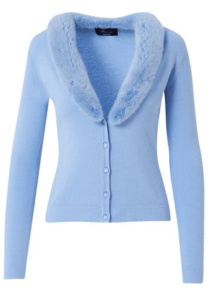 Knit Cardigan W/ Detachable Fur Collar