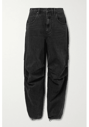 Alexander Wang - Paneled Denim And Shell Boyfriend Jeans - Charcoal
