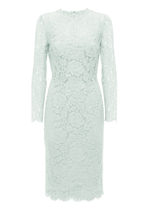 Fitted Cotton Blend Lace Midi Dress