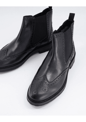 Dune chelsea brogue ankle boots in black leather