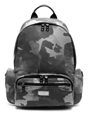 Dolce & Gabbana logo-plaque camouflage-print backpack - White